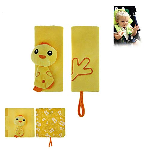 Infant Baby Car Seat Strap Covers, Stroller Belt Covers Shoulder Pads(2 Pack), Yellow Duck Cartoon Animal Design Carseat Belt Pad