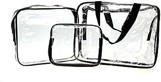 مجموعة من 3 حقائب شفافة مضادة للماء لتخزين وتنظيم مستحضرات التجميل وادوات الزينة والاغراض الضرورية للنساء