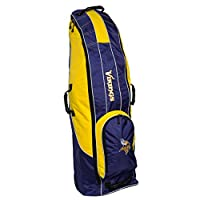 Team Golf NFL Minnesota Vikings Travel Golf Bag, High-Impact Plastic Wheelbase, Smooth & Quite Transport, Includes Built-in Shoe Bag, Internal Padding, & ID Card Holder