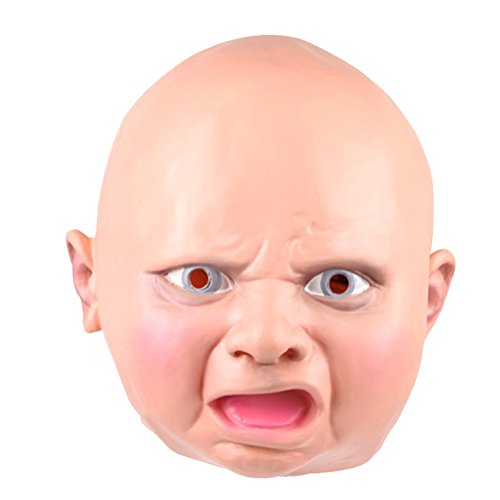 TINKSKY Angry Baby Latex Mask Costume Accessory Child Baby Head Mask For Cosplay Halloween