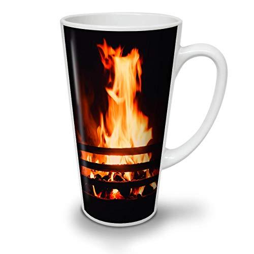 Wellcoda Verbrennung Kamin Latte BecherGemütlich Kaffeetasse - Komfortabler Griff, Zweiseitiger Druck, robuste Keramik