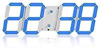 目覚まし時計多機能3DステレオデジタルLEDの壁掛けのリモコン感光クロック 掛け時計 ZJSXIA (Color : E Blue)