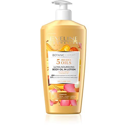 Eveline Cosmetics Botanic Expert 5 Edel Öle Body Lotion Straffendes, Feuchtigkeitscreme Körper | 350 ML | Pflegender Body Lotion | Glänzende und Glatte Haut |...
