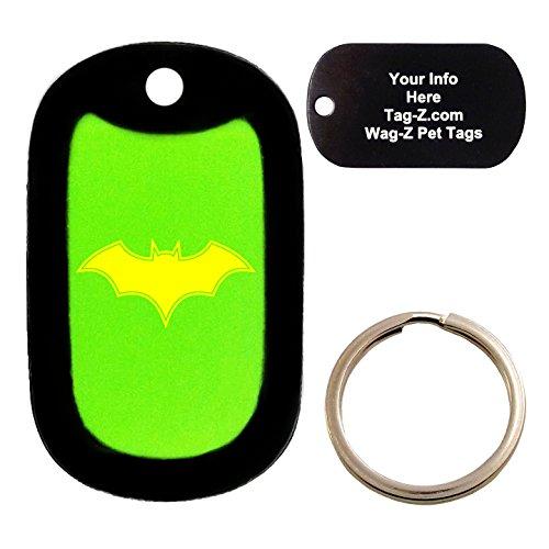 Custom Engraved Pet Tag Bat - Lime Green - Dog Tag - Tag-Z Wag-Z