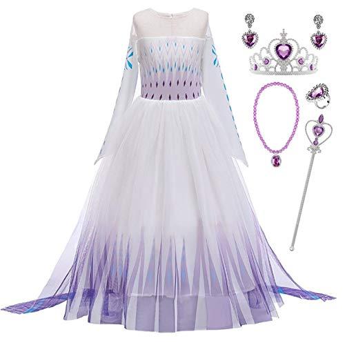 Kosplay Principessa delle Ragazze Abito Elsa Regina delle Nevi Cosplay Vestire Halloween Natale Carnevale Costume Party Fancy Dress Up 2-14 Anni