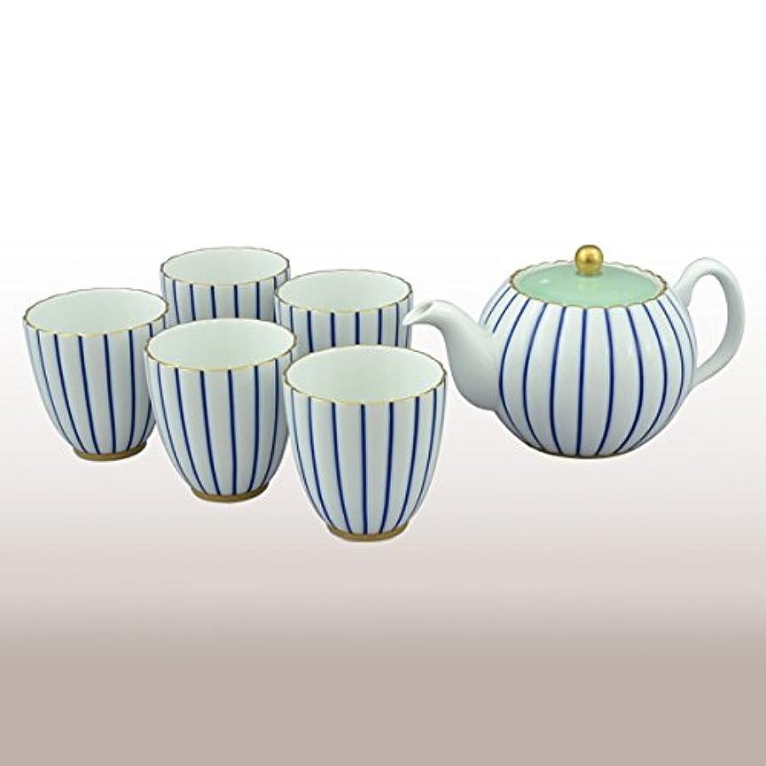 脅威いう扱う香蘭社 茶器揃 白 ポット高95mm、湯呑高70mm 青藍縞紋 2530-AHR