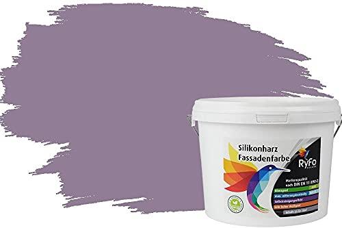 RyFo Colors Silikonharz Fassadenfarbe Lotuseffekt Trend Blasslila 3l - bunte Fassadenfarbe, weitere Violett Farbtöne und Größen erhältlich, Deckkraft Klasse 1