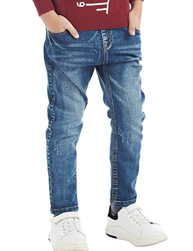BYCR Boys' Blue Denim Jean Elastic Waist Pants for Kids Size 4-18 No. 71500092 (130 (US Size 6-7), Dark-Blue)