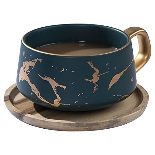 VETIN Cappuccino Tassen mit Unterteller, Espressotassen aus Porzellan für Tee Kaffee Cappuccino, Kaffee-Tassen mit Holzscheibe - Grün, 300 ml