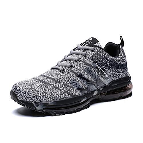 Dannto Herren Laufschuhe Air Cushion Luftkissen Sneaker Sportschuhe Outdoor Running Leichtgewichts Turnschuhe Freizeit Atmungsaktive Schuhe Für Frühling Sommer(Dunkelgrau,43)