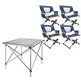 Mesas Sillas Camping Mesa Plegable con 4 sillas, Mesa de elevación de aleación de aleación de Aluminio al Aire Libre portátil, trae una Correa de Mano para un fácil Almacenamiento