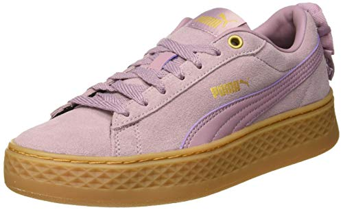 Puma Damen Smash Platform Frill Sneaker, Violett (Elderberry-Puma Team Gold), 42 EU (8 UK)