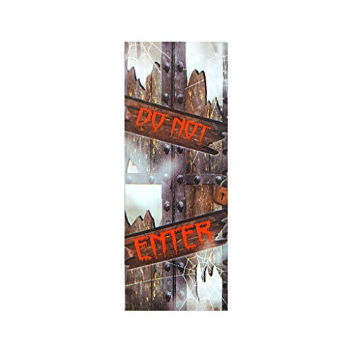 Coversolate 2 Stück Türtapete Selbstklebend 3D, 38.5 x 200cm, Türaufkleber für Halloween Deko Horror Zombie Skelett Türposter (H)