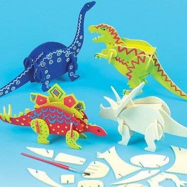 Baker Ross EK501 Dinosaurier 3D Holzbastel-Set, Komplettgröße 13 cm, für Kinder zum Basteln und Dekorieren (5 Stück), holzfarben