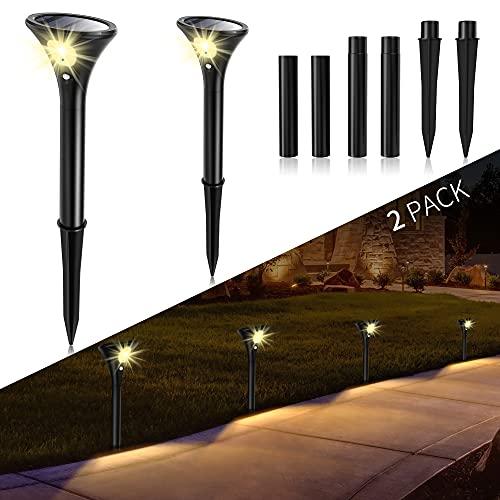 Luces Solares Jardín, Lamparas Solares Exterior con Sensor de Movimiento IP65 Impermeable Paisaje Pathway Lámpara Luces de Seguridad para Patio Césped Escaleras 2 Pack Luz Exterior Solar Lámpara Solar