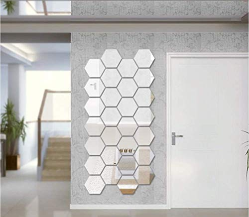 Mirror Wall Stickers Removable Acrylic Hexagon Mirror 3D Mirror Wall Stickers for Home Decor(12PCS)