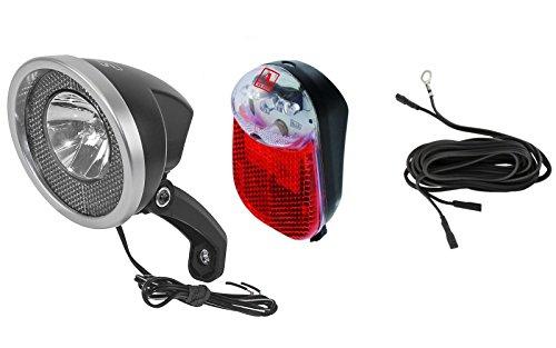 Smart/Anlun Fahrrad Beleuchtung Set Halogen Vorderlicht LED Rücklicht für Nabendynamo