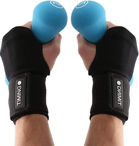 Timing Bandage Handgelenk Rechts und Links - Armgelenk Schützer - 2er Set - Handgelenkstütze - Sportbandagen - für Kraftsport - Fitness - Bodybuilding (schwarz, One Size)