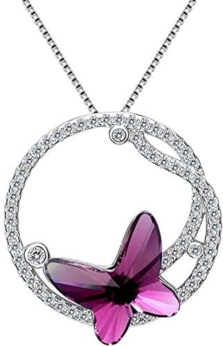 klhxp Collar con Colgante Nupcial de la Boda de la CZ del aro aéreo de la Mariposa de la Plata esterlina 925 de Las Mujeres-Fucsia