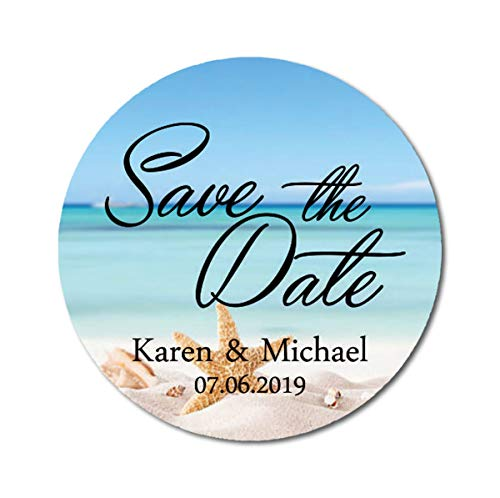 Darling Souvenir Round Starfish Beach Photo Save The Date Stickers Personalized Bride Groom Names and Date Envelope Seals 45 Pieces