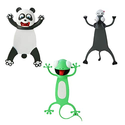 3PCS Wacky Bookmark Palz - More Fun Reading, 3D Cartoon Squashed Animal Bookmarks Novelty Funny Cute Stationery, Christmas Birthday Party Favors Gift for Kids Students