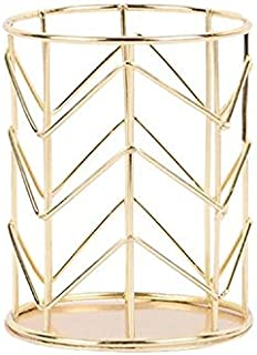 Yiherone Empty Iron Pen Holder Makeup Brushes Storage Desk Organizer Container(Rose Amber) New (Color : Gold)