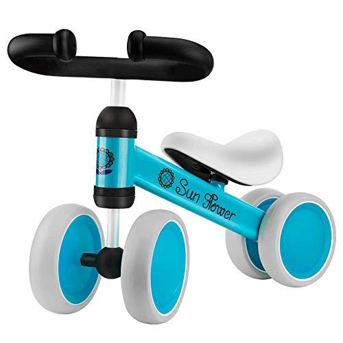 Ydq Kinder Laufrad Spielzeug In Scooter Sattelhöhe Baby-Bike Auf Vier Rädern Für Mehr Gleichgewicht Baby Dreiräder Erst Geburtstag Geschenk Fahrrad Für Jungen Mädchen 6-24 Monate