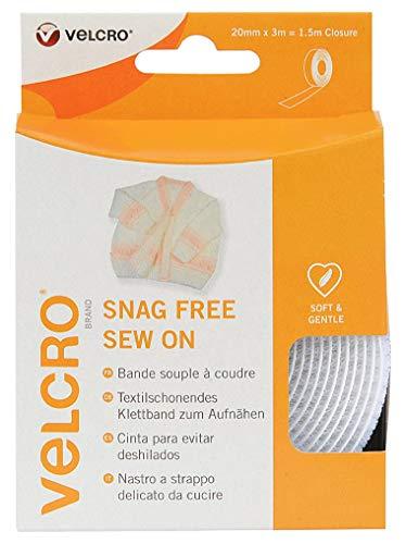 Velcro VEL-EC60350 Nastro a strappo delicato da cucire, maschio, 20 mm x 3 m, bianco