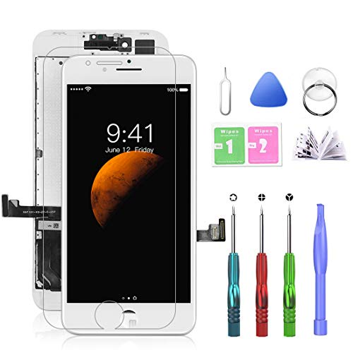 SZRSTH Compatible with iPhone 8 Plus Screen Replacement White 5.5 Inch LCD Display with 3D Touch Screen Digitizer Frame Display Full Assembly Include Full Free Repair Tool Kits+Screen Protector