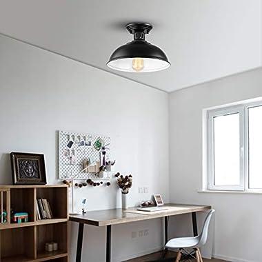 HMVPL Semi Flush Mount Ceiling Light Fixture, Farmhouse Black Close to Ceiling Lighting Industrial Decor Lamp for Kitchen Isl