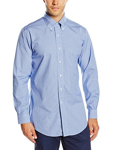 Brooks Brothers - Dress Non-Iron Botton Down Classic, Camicia da uomo, blue 61, 43 (collo in. 17 manica in. 35)