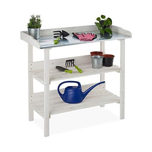 Relaxdays, wit plantentafel, metalen plaat, plantenbak met planken, hout, tuin, kas, balkon, 86 x 92 x 41 cm