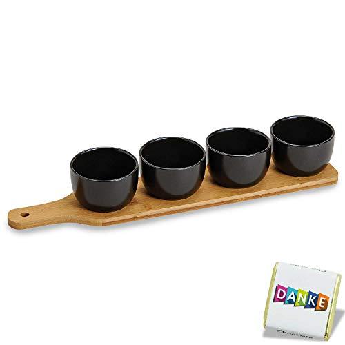 Vorspeisen Schälchen Set auf Bambus Tablett, Teller Set, 5 Teile Set Servier Teller schwarz,4 Soufflé Förmchen,Servierschalen Set Tapas Schalen auf Bambusholz, servierbrett Holz & 4 Dessert Gläser
