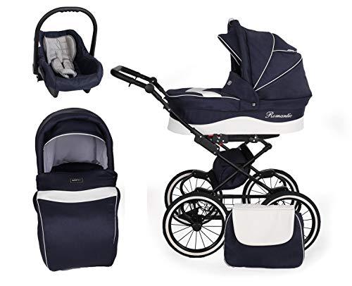 Cochecito retro 3en1 2en1 Isofix conjunto de cochecito combinado + accesorios Selección de color Romantic Black de ChillyKids B-Black Jeans 05 3en1 con asiento
