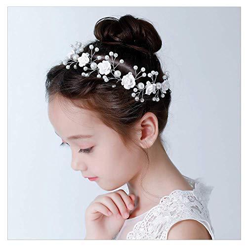IYOU Prinzessin Weiße Blume Kopfschmuck Perle Haarschmuck Braut Hochzeit Haarschmuck für Mädchen