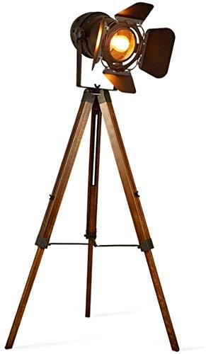 ZJJZ Lámpara de pie, diseño de trípode Vintage para Teatro, luz de Suelo para búsqueda de Escenario, lámpara de pie con Acabado de Hierro Forjado Negro de Madera Vieja para Sala de Estar, dormito