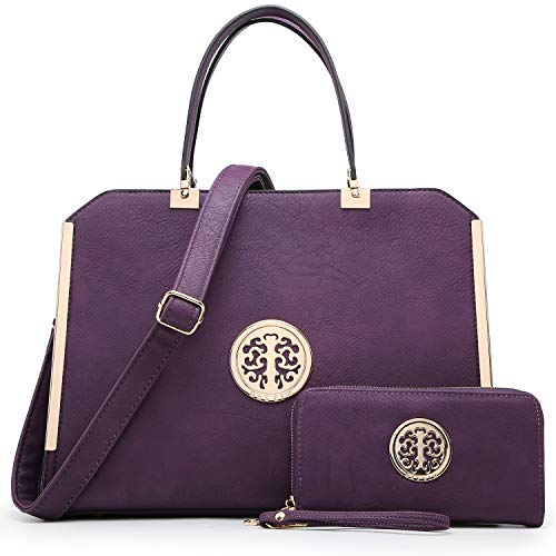 DASEIN Women Large Satchel Handbag Shoulder Purse Top handle Work Bag Tote With Matching Wallet (Purple)