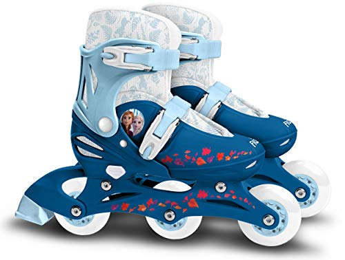 Stamp Frozen II Adjustable Two in One 3 Wheels Skate, Girls, Azul & Blanco, Talla 27-30