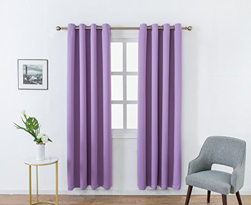 MANGATA CASA Bedroom Blackout Curtains Grommet 2 Panels,Thermal Window Curtain Panel for Living Room Darkening Drapes(Light-Purple 52x84Inch)