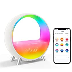 Amouhom Smart Bedside Lamp, Bluetooth 5.0 HiFi Speaker Alarm Clock, Sound Machine, Work with Alexa & Google Assistant, Support 12/24 Calendar, App Control and Snooze Mode, Ideal Choice for Friends.