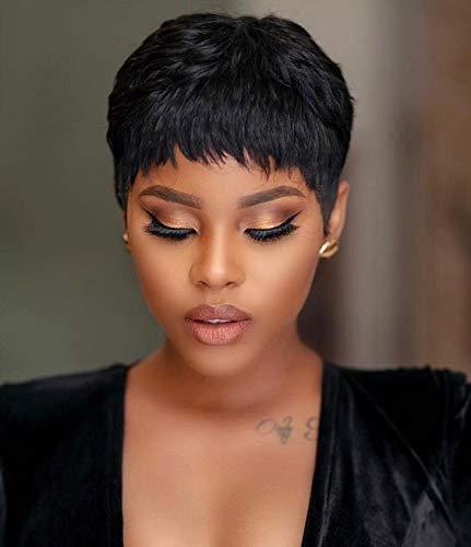 TOOCCI Cheveux humains des Perruques pour Femme Noire Cheveux Courts Perruque Pixie avec des Perruques pour Femme Côté Frange Pour Les Human Hair