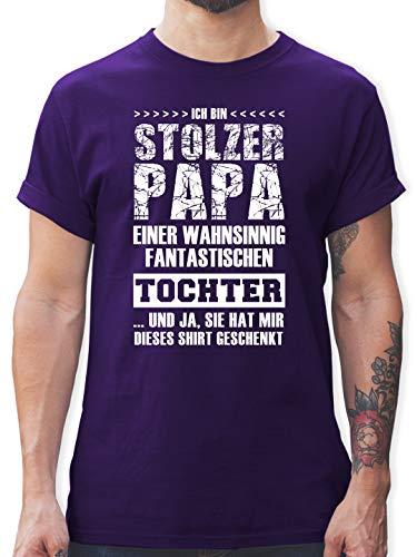 Vatertagsgeschenk - Stolzer Papa Fantastischen Tochter - L - Lila - Tshirt Herren lustige sprüche - L190 - Tshirt Herren und Männer T-Shirts