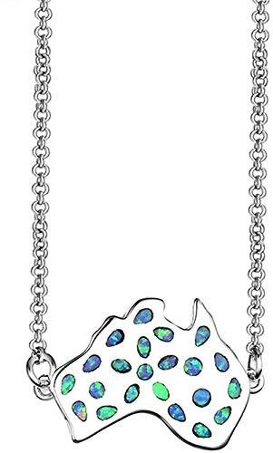 ZGYFJCH Co.,ltd Collares Encantador Collar de ópalo de Fuego Azul para Mujeres Colgantes de Mapa Australia Collares de joyería Regalo de Plata rellena