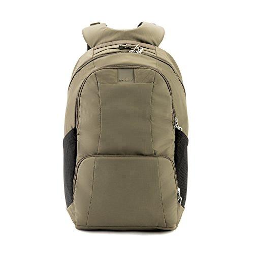 Pacsafe Metrosafe LS450 großer Nylon Rucksack mit Anti-Diebstahl Details für Damen und Herren, Daypack mit Diebstahlschutz, Tasche mit Sicherheits-Features, 25 L, Beige/Earth Khaki