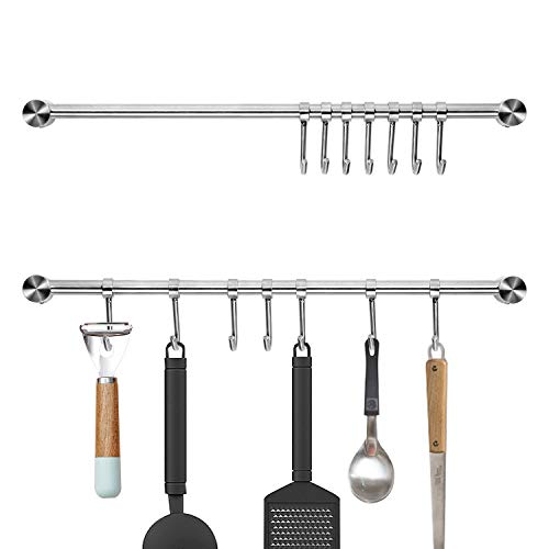 Pots and Pans Hanging Rack Wall Mounted Audmore 304 Stainless Steel 156 Inch Straight Bar Utensil Rack Kitchen Rail with 7 Sliding Hooks for Pots Pans Utensils Pack of 2