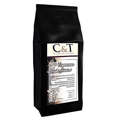 Kaffeebohnen Entkoffeiniert - UNSER ESPRESSO CREMA - 1000g Fein Gemahlen - für Espressokocher, Espressomaschine, Percolator - Schonend Gerösteter Bohnen-Kaffee Säurearm Ohne Koffein Blend
