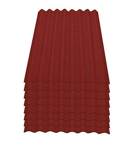 Onduline Easyline Dachplatte Wandplatte Bitumen Wellplatte 8x0,76m² - rot