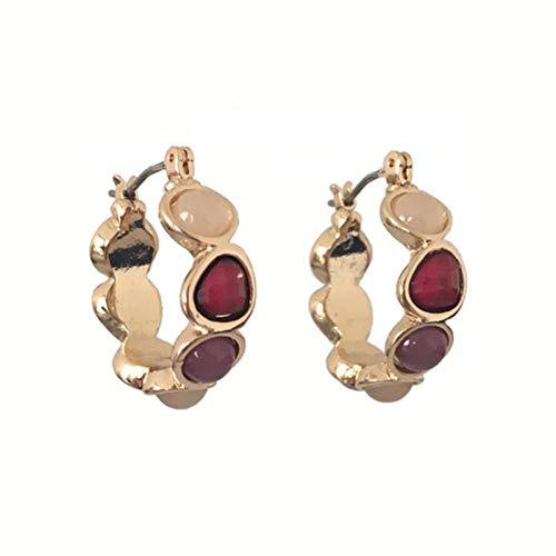 QIN Nuevos Pendientes de aro de Piedra de Resina Coloridos a la Moda para Mujer, joyería, Bonitos Pendientes de aro de Gran Oferta