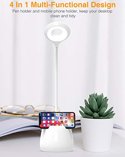 Lámpara Escritorio LED, Flexo LED escritorio, 3 Niveles de Brillo Panel Táctil Luz Flexo de Escritorio, Lámpara de Mesa Regulable Cuidado Ocular con puerto de Carga USB LED- Luz Lectura Lá