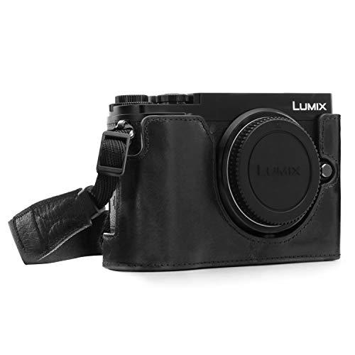 MegaGear MG1442 Panasonic Lumix DC-GX9 Ever Ready Echtleder Kamera-Halbtasche mit Trageriemen - Schwarz
